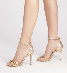 Sandália Viper Skin Metalizada Tiras Salto Alto New Golden