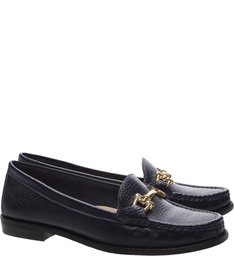 Mocassin Couro Navy Blue