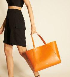 [PRÉ VENDA] Bolsa Shopping Laranja Couro Serena Grande