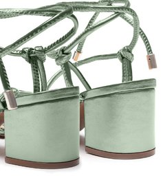 Sandália Metalizada Tiras Amarração Verde