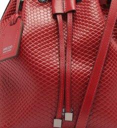 Bolsa Bucket Viper Skin Piazza Média Cherry Red