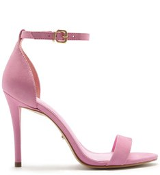 Sandália Isabelli Nobuck Salto Alto Baby Pink