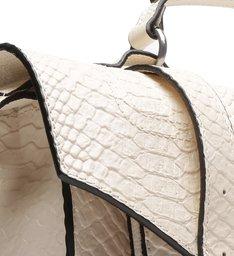 Bolsa Satchel Couro Skin Off-white