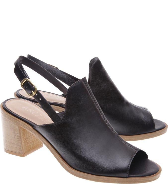 Sandal Boot Couro Salto Madeira Preta