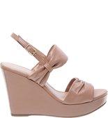 Sandália Plataforma Couro Soft Nude Vintage