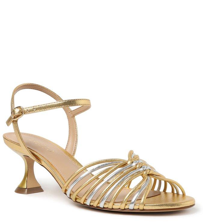Sandália Dourada Salto Taça com Tiras New Golden