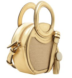Bolsa Tiracolo Tecido Rústico Emma Pequena Natural e New Golden