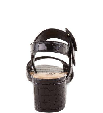 Sandália Salto Médio Croco Preta