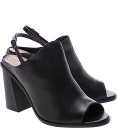 Sandal Boot Couro Salto Bloco Preta