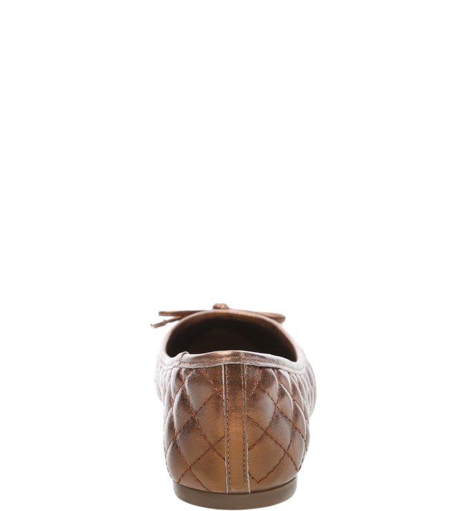 Sapatilha Couro Soft Matelassê Tiny Bow Bronze