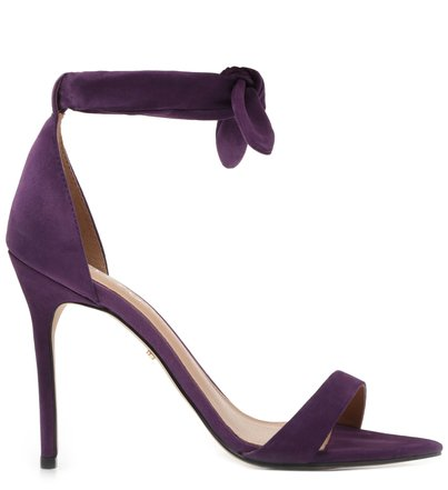 Sandália Roxa Nobuck Salto Fino Lace Up Real Purple