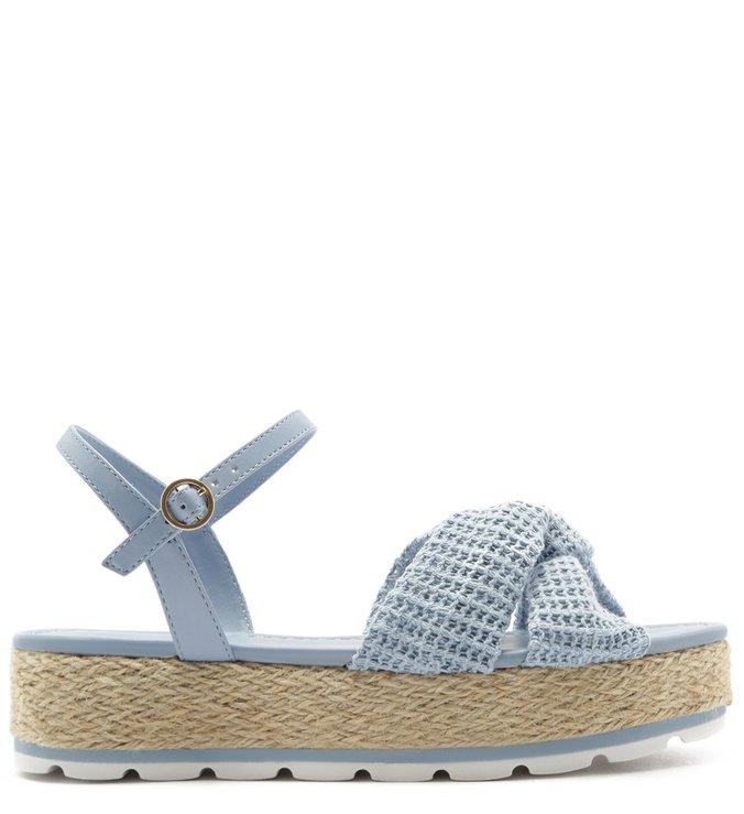 Sandália Flatform Tecido Azul Jelly Blue | Arezzo
