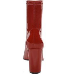 Skinny Boot Glossy Salto Bloco Alto Royal Red