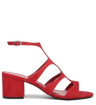 Sandália Vermelha Nobuck Salto Bloco