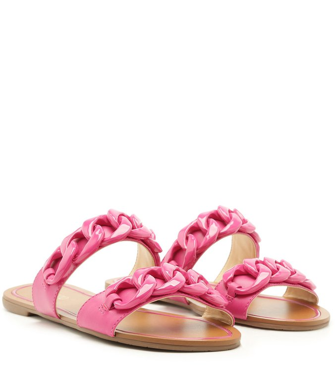 Rasteira Aberta Tiras Corrente Resina Summer Pink