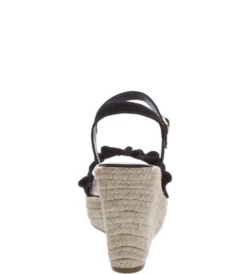 Sandália Plataforma Suede Drapeados Preta