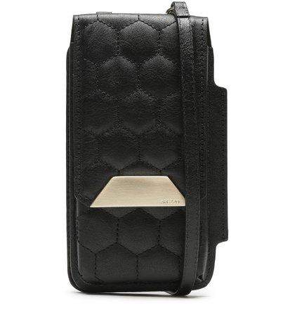 Mini Bolsa Porta-Celular Preta Couro Bee.ZZ