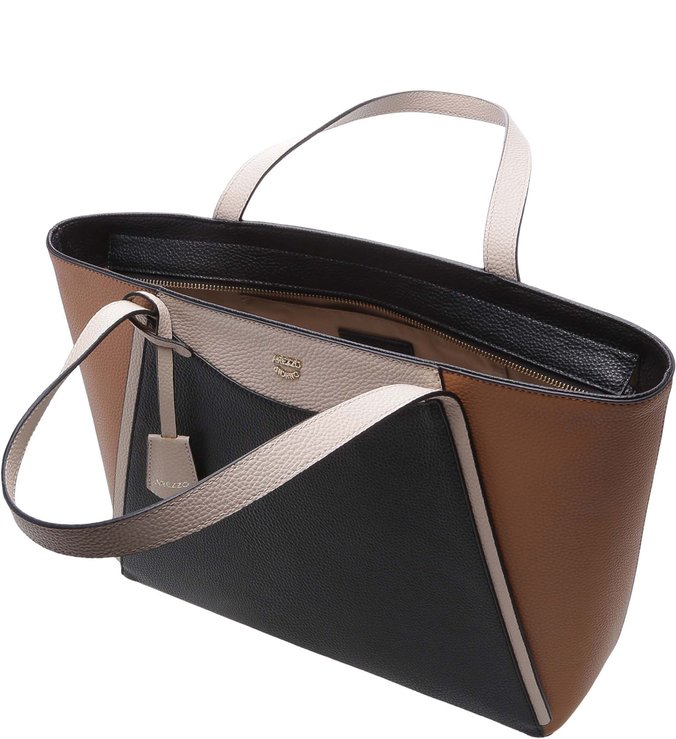 Bolsa Shopping Bianca Grande Preto, Latte e Natural Tan