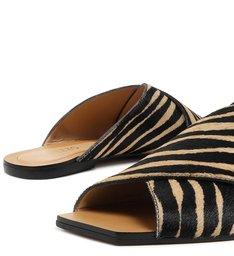 Rasteira Animal Print Pelo Zebra
