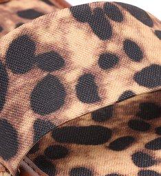 Sandália Animal Print Lona Flatform Palha