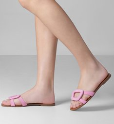 Rasteira Nobuck Tiras Geométrica Baby Pink