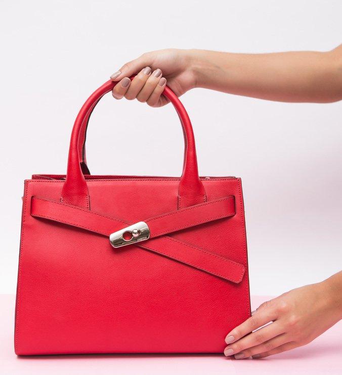 Bolsa Couro Tote Grande Alessia Royal Red