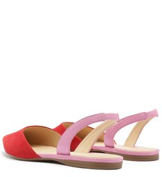 Sapatilha Nobuck Bico Fino Aberta Lust Red e Baby Pink