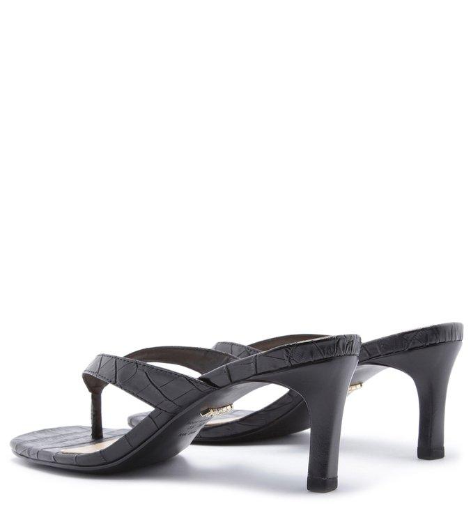 Sandália Salto Baixo Croco Bico Quadrado Preta