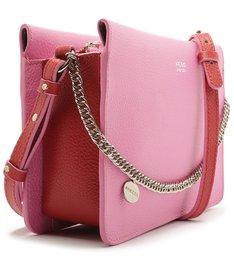 Bolsa Tiracolo Couro Malu Média Baby Pink e Lust Red