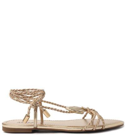 Sandália Rasteira Dourada Amarração Alana