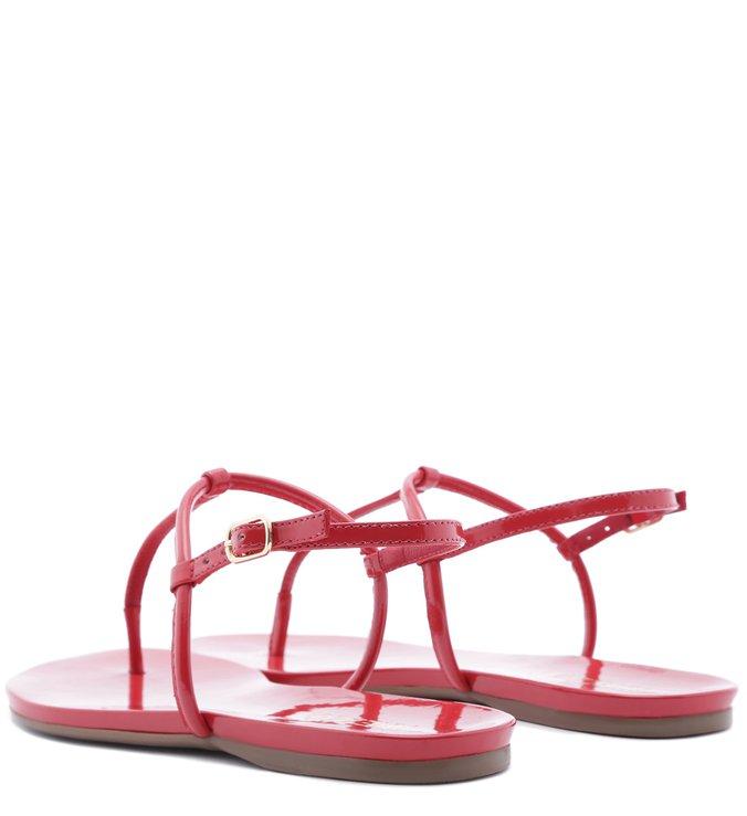 Sandália Rasteira Verniz Vermelha Lust Red