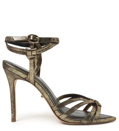 Sandália Dourada Natural Glam Salto Fino
