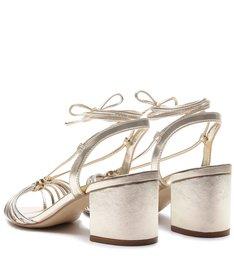 Sandália Salto Bloco e Bico Folha Amarração Metal Silver, Platino e New Titanium