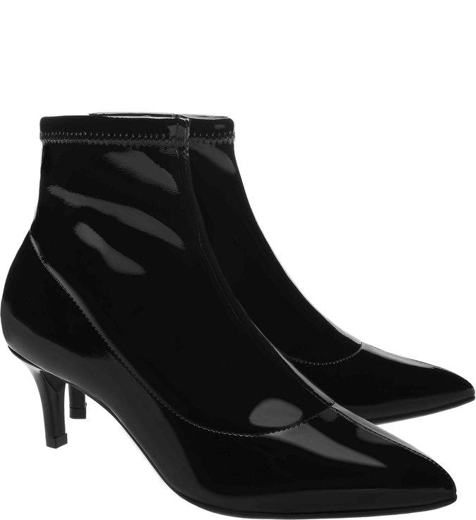 Skinny Boot Verniz Salto Fino Baixo Preta