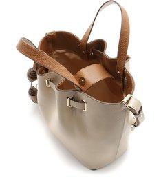 Bolsa Bucket Couro Flora Média Latte e Buriti