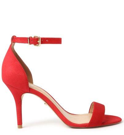 Sandália Vermelha Nobuck Salto Fino Isabelli