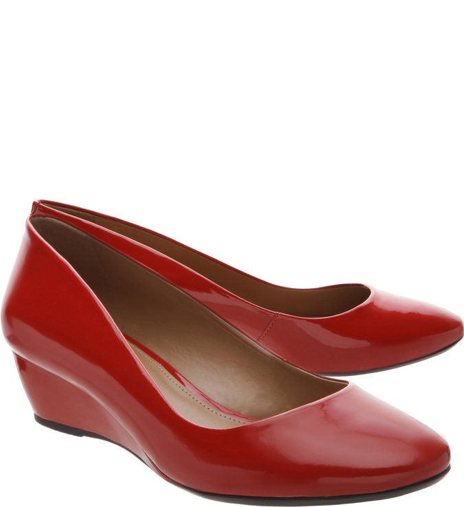 Scarpin Anabela Verniz Royal Red