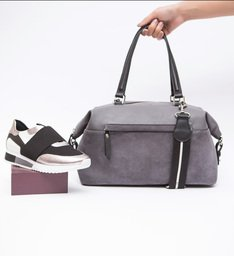 Bolsa Shopping Couro Grande Prione Grey Mist