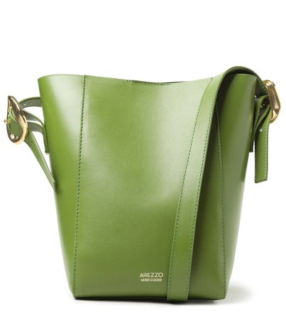 [PRÉ VENDA] Bolsa Bucket Verde Couro Serena Média