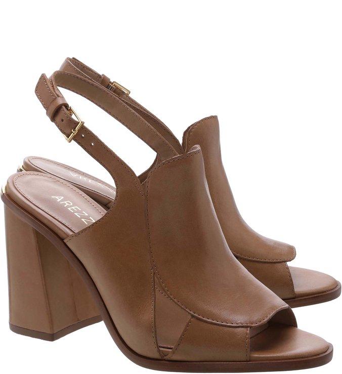Sandal Boot Couro Salto Alto Bloco Recortes Castor