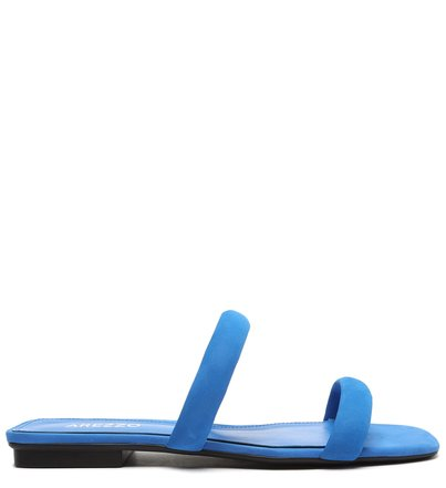 Rasteira Nobuck Azul Bico Quadrado e Tiras Bombadas