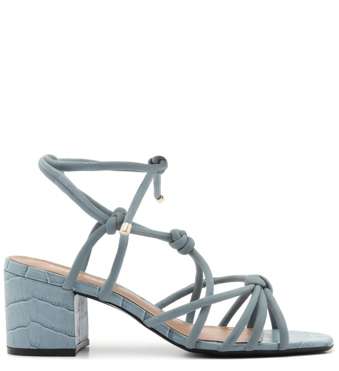 Sandália de Amarrar Azul Croco Salto Baixo