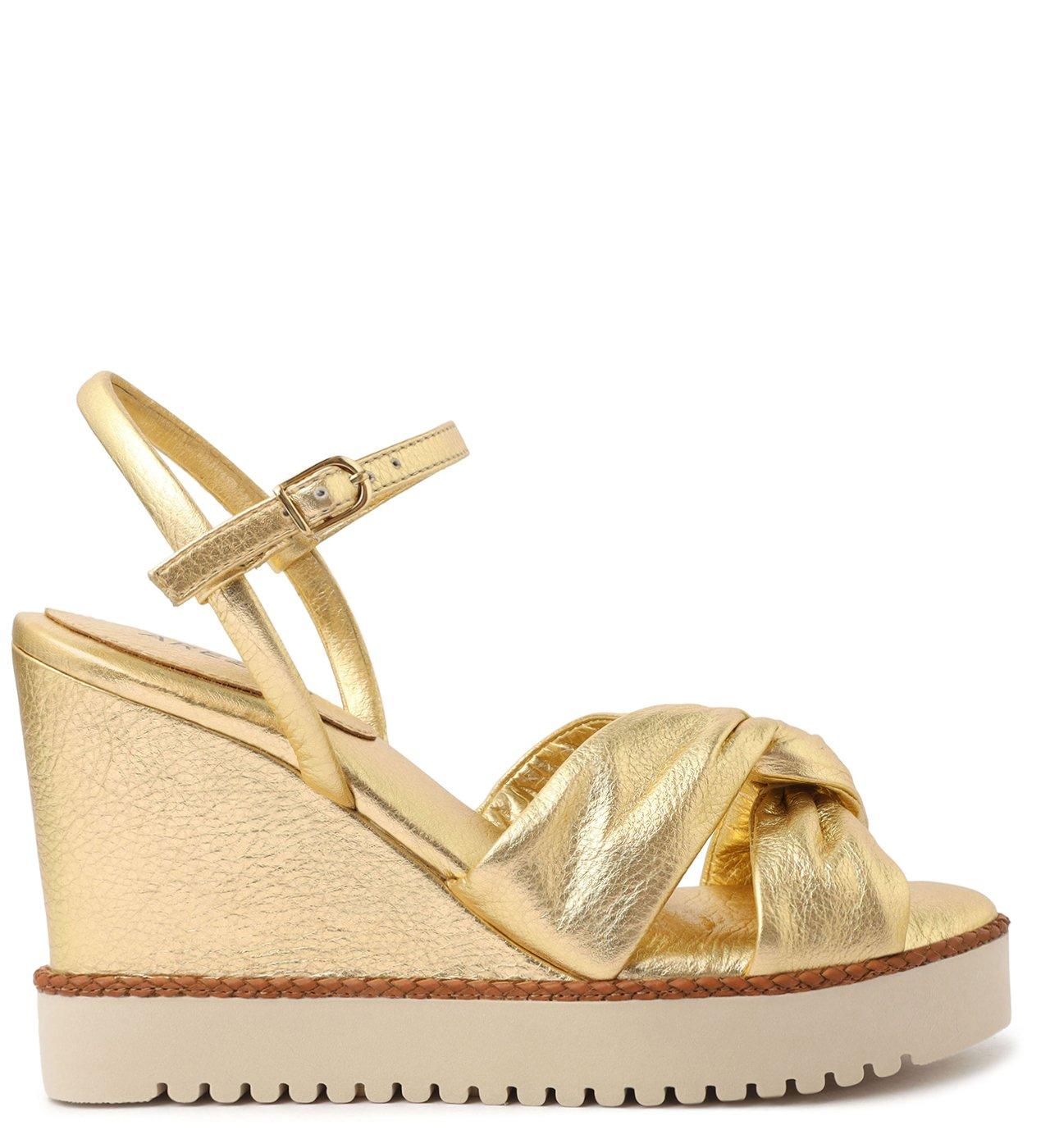Sandália Dourada Natural Glam Couro Anabela   Arezzo