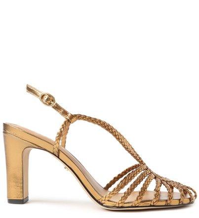 Sandália Dourada Bloco Tiras Trançadas