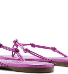 Chinelo Bico Quadrado Tiras Nós Rosa Metal