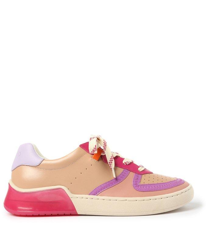 Tênis Rosé Couro Amarração Multicolorido