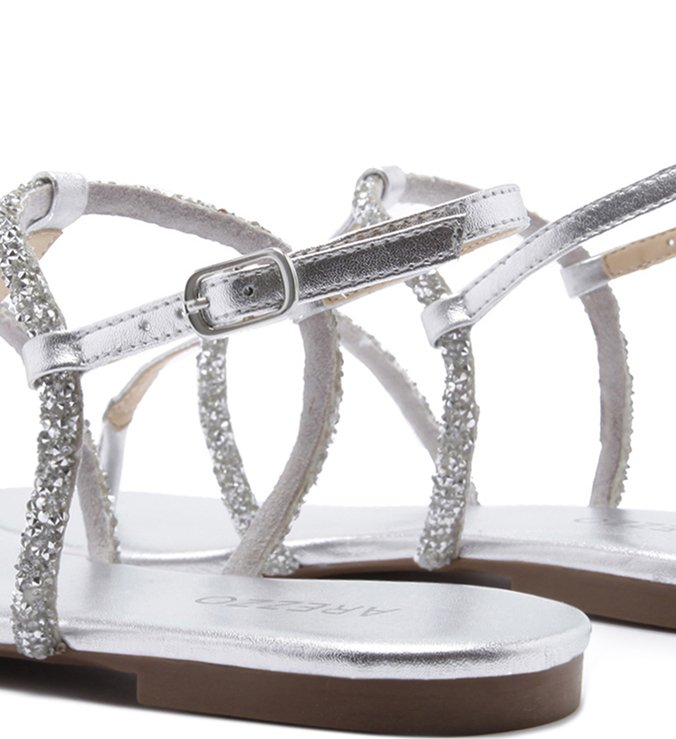 Sandália Rasteira Pedraria Prata  Silver e Prata