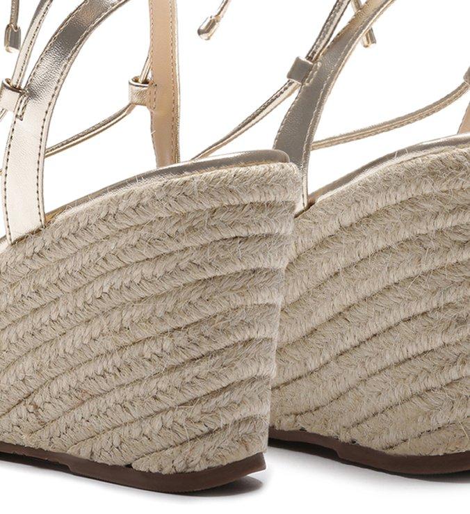 Sandália Amarração Plataforma Trança Platino e Colorida