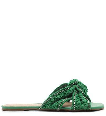 Rasteira Tecido Tricot Verde com Strass Nó