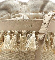 Bolsa Bucket Tecido Rústico Lilian Pequena Natural e Porcelana